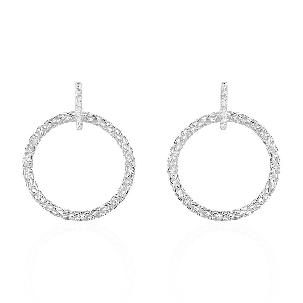 Boucles D'oreilles Pendantes Sowa Argent Blanc Oxyde De Zirconium - Boucles d'oreilles fantaisie Femme | Histoire d'Or