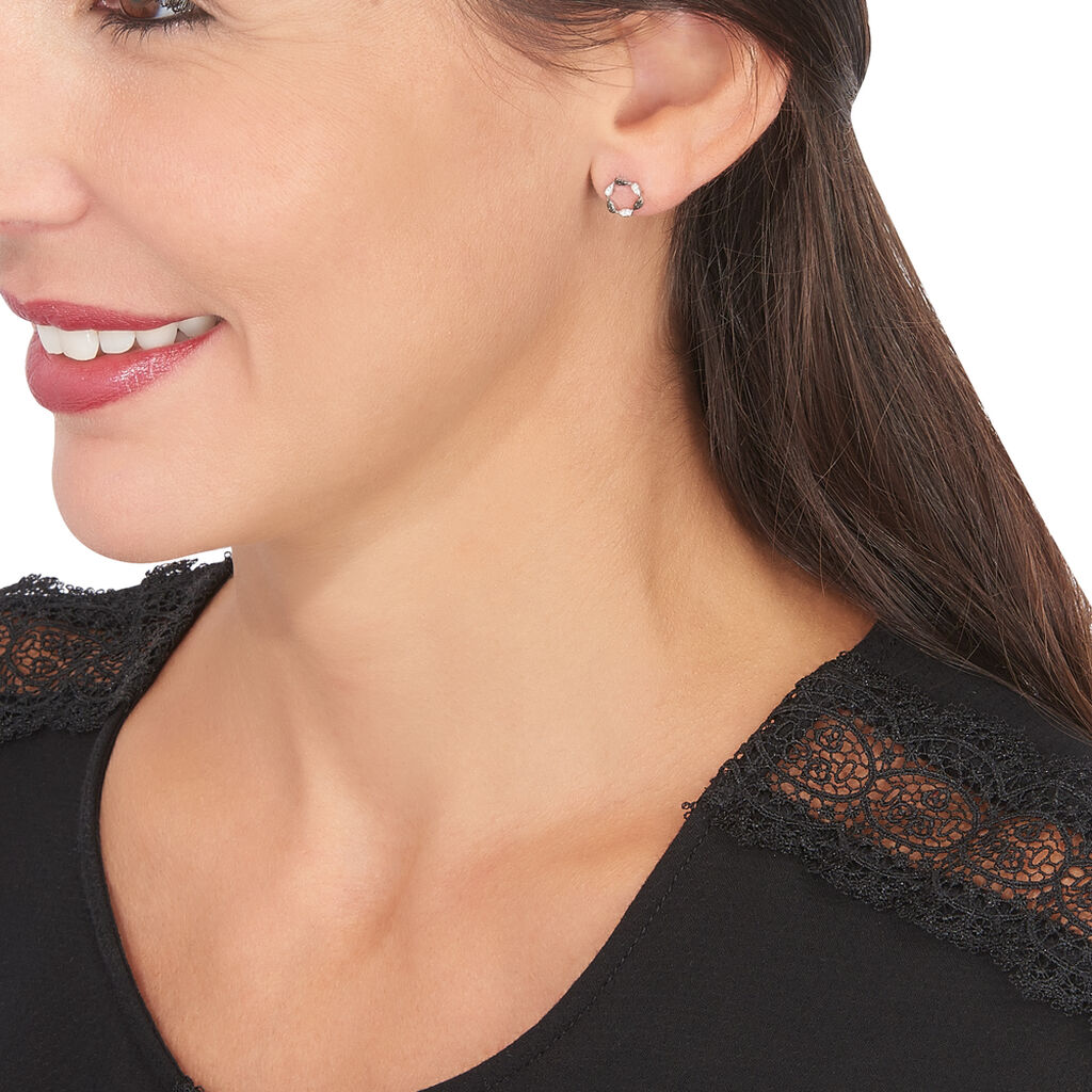 Boucles D'oreilles Puces Enisa Or Blanc Diamant - Clous d'oreilles Femme | Histoire d'Or