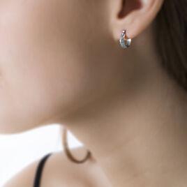 Créoles Ananas Demi Jonc Or Blanc - Boucles d'oreilles créoles Femme | Histoire d'Or
