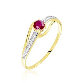Bague Tanissia Or Jaune Rubis Et Diamant - Bagues solitaires Femme   Histoire d'Or