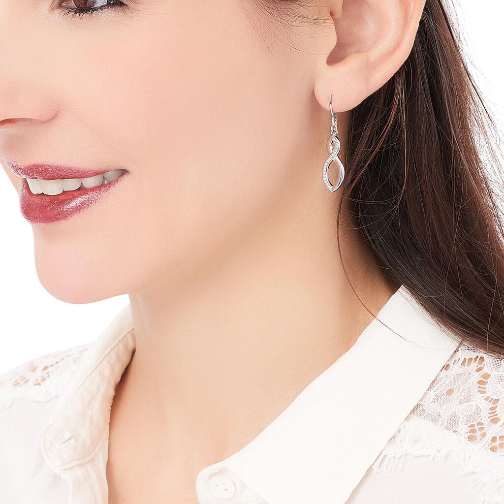 Boucles D'oreilles Pendantes Odile Argent Blanc Oxyde De Zirconium - Boucles d'Oreilles Infini Femme   Histoire d'Or