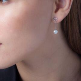 Boucles D'oreilles Pendantes Alix Or Blanc Perle De Culture Et Diamant - Boucles d'Oreilles Coeur Femme | Histoire d'Or