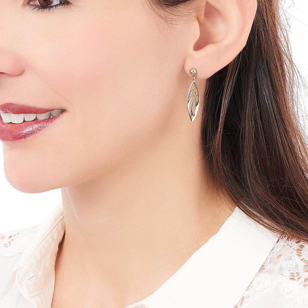 Boucles D'oreilles Pendantes Yakoute Plaque Or Jaune - Boucles d'Oreilles Plume Femme   Histoire d'Or