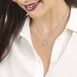 Collier Azenor Argent Blanc Oxyde De Zirconium - Colliers Coeur Femme | Histoire d'Or