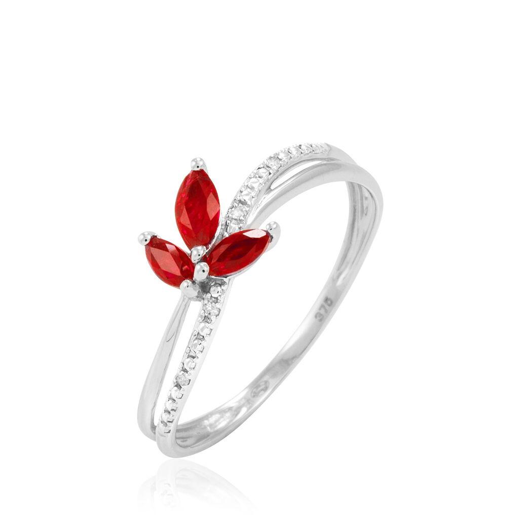 Bague Maura Or Blanc Rubis Et Diamant - Bagues avec pierre Femme | Histoire d'Or