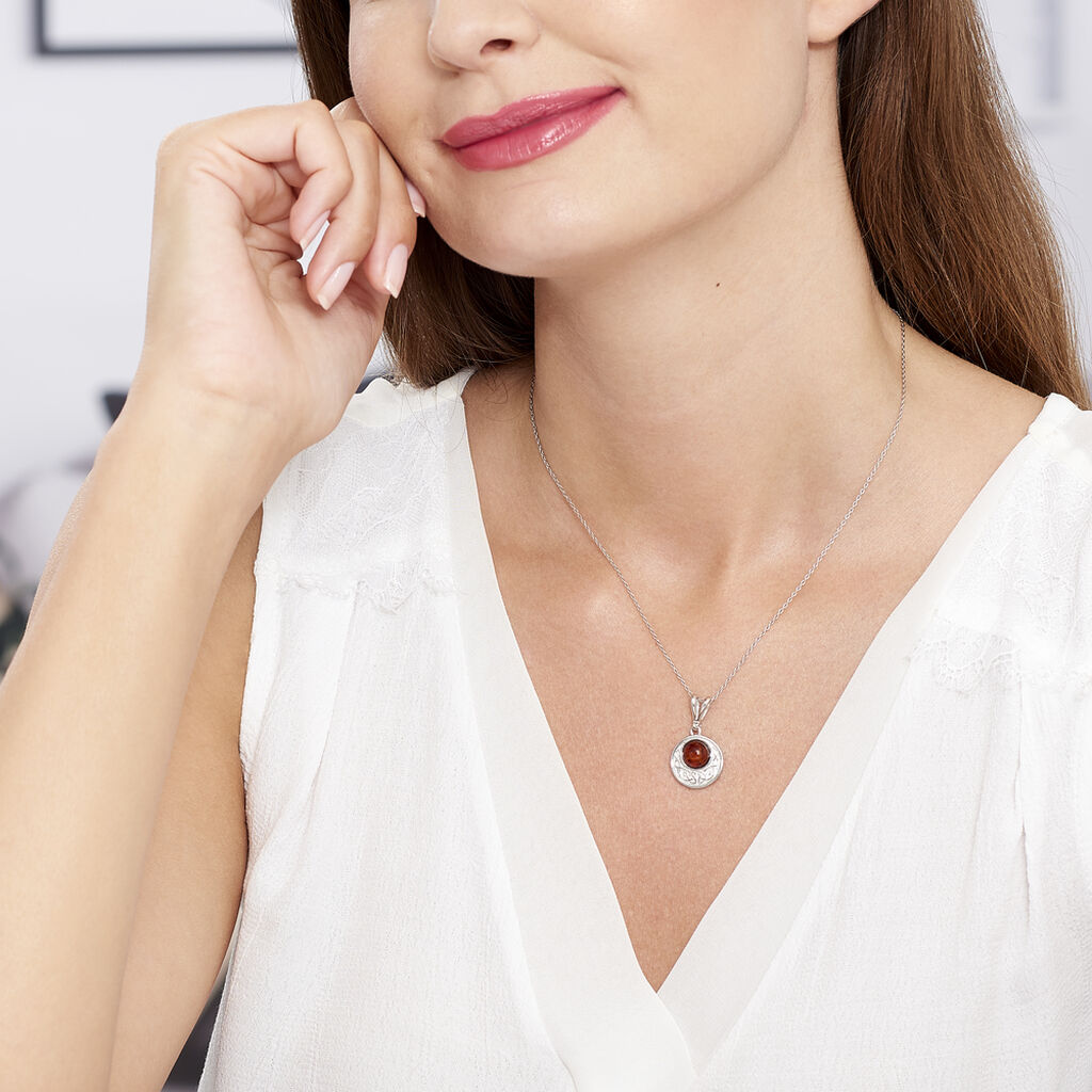 Collier Mystica Argent Blanc Ambre - Colliers fantaisie Femme   Histoire d'Or