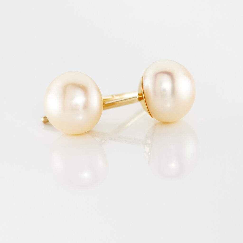 Boucles D'oreilles Puces Kesya Nacres Bouton Or Jaune Perle De Culture - Clous d'oreilles Femme | Histoire d'Or