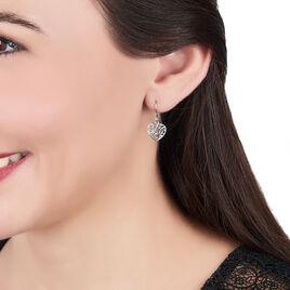 Boucles D'oreilles Pendantes Aelaig Argent Blanc - Boucles d'Oreilles Coeur Femme | Histoire d'Or