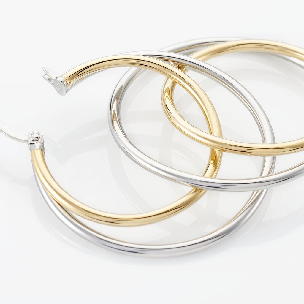 Créoles Adisson Acier Bicolore - Boucles d'oreilles créoles Femme   Histoire d'Or