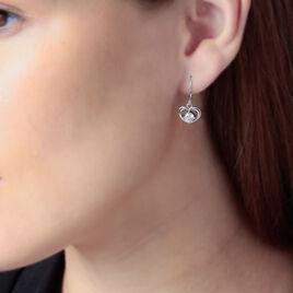 Boucles D'oreilles Pendantes Nalan Argent Blanc Oxyde De Zirconium - Boucles d'Oreilles Coeur Femme   Histoire d'Or