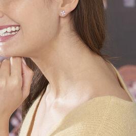 Boucles D'oreilles Puces Lilyana Or Blanc Diamant - Clous d'oreilles Femme | Histoire d'Or