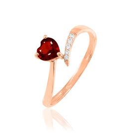 Bague Eva Or Rose Grenat Et Diamant - Bagues Coeur Femme | Histoire d'Or