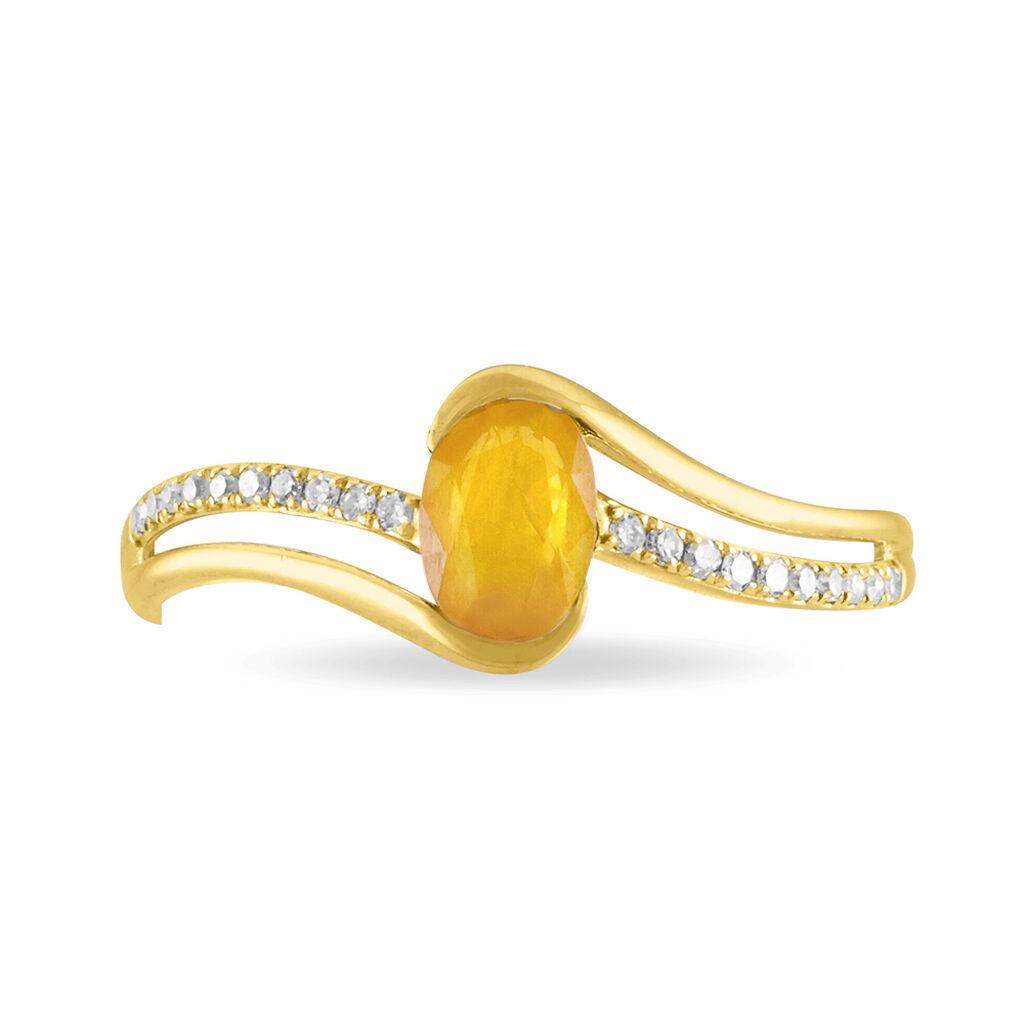 Bague Anja Or Jaune Citrine Et Diamant - Bagues avec pierre Femme   Histoire d'Or