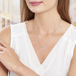 Collier Oflaz Argent Blanc Oxyde De Zirconium - Colliers Coeur Femme   Histoire d'Or