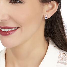 Boucles D'oreilles Puces Angelika Or Blanc Saphir Et Diamant - Clous d'oreilles Femme | Histoire d'Or
