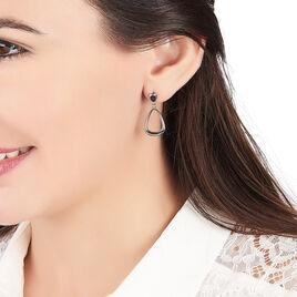 Boucles D'oreilles Acier Elise Pendante Email Noir - Boucles d'oreilles fantaisie Femme | Histoire d'Or