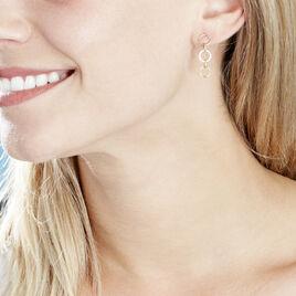 Boucles D'oreilles Pendantes Lutzele Or Bicolore Oxyde De Zirconium - Boucles d'oreilles pendantes Femme   Histoire d'Or