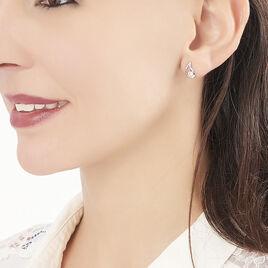 Boucles D'oreilles Puces Helie Goutte Or Blanc Oxyde De Zirconium - Clous d'oreilles Femme   Histoire d'Or
