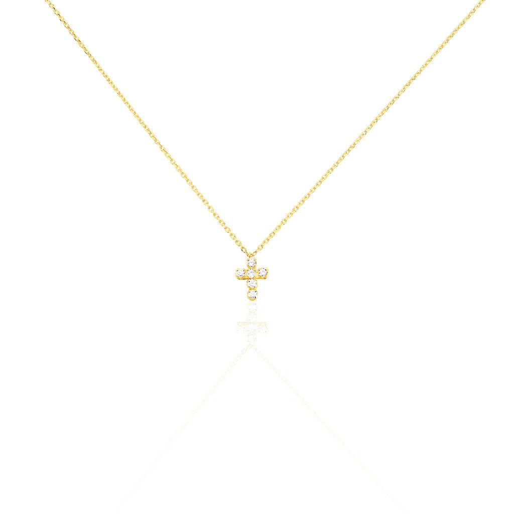 Collier Canice Croix Or Jaune Oxyde De Zirconium - Colliers Croix Unisexe | Histoire d'Or