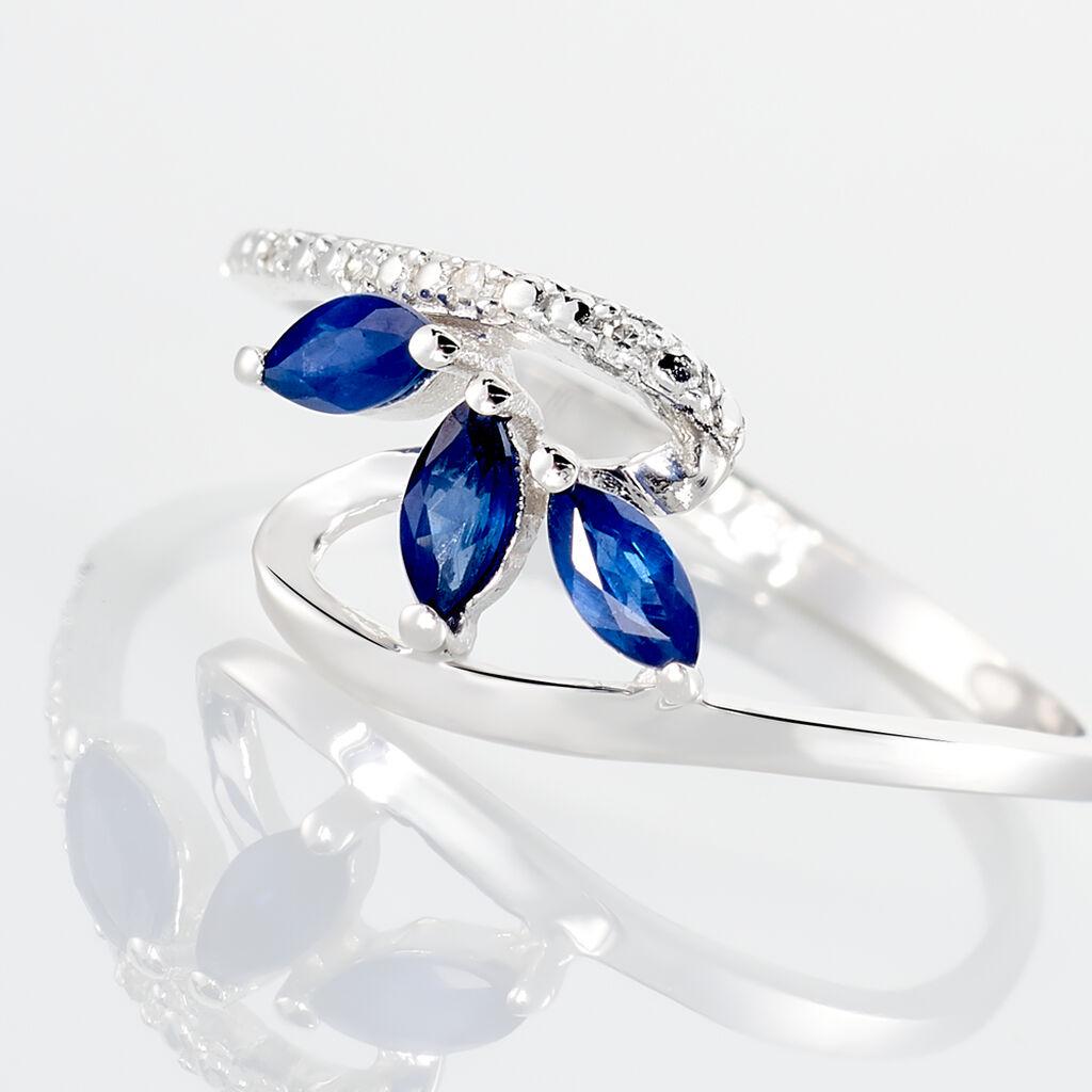 Bague Petale Or Blanc Saphir Et Diamant - Bagues avec pierre Femme | Histoire d'Or