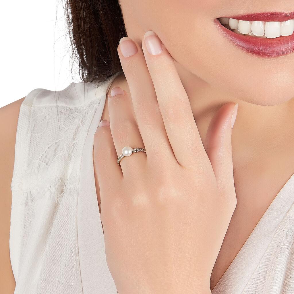 Bague Maria-francoise Or Jaune Perle De Culture Et Oxyde De Zirconium - Bagues avec pierre Femme | Histoire d'Or
