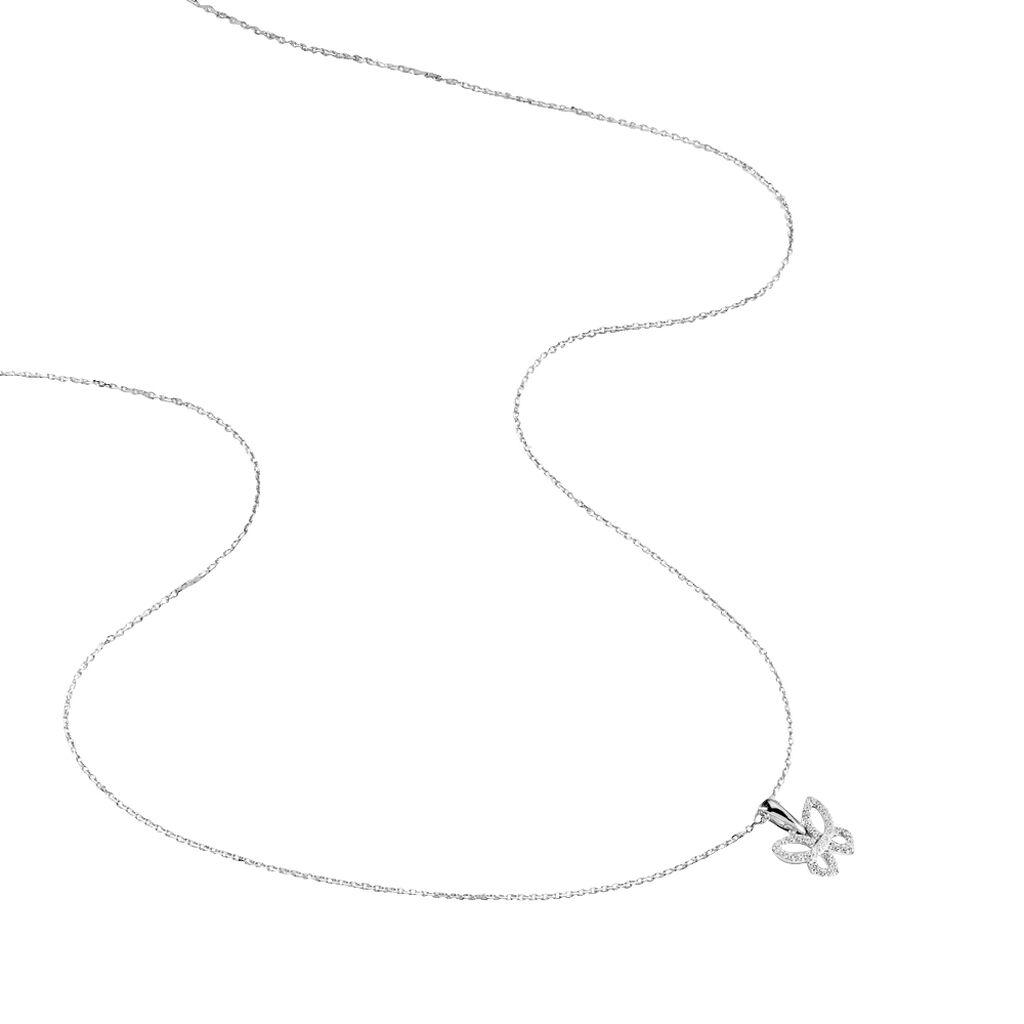 Collier Or Blanc Oxyde De Zirconium - Colliers Papillon Femme | Histoire d'Or