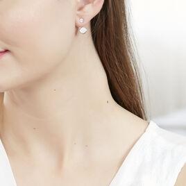 Bijoux D'oreilles Lorie Argent Blanc Oxyde De Zirconium - Boucles d'oreilles fantaisie Femme   Histoire d'Or