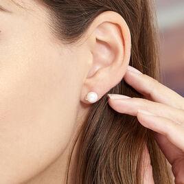 Boucles D'oreilles Puces Lucinda Or Blanc Perle De Culture Et Oxyde - Clous d'oreilles Femme | Histoire d'Or