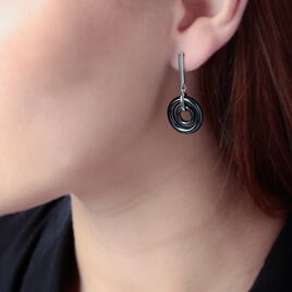 Boucles D'oreilles Pendantes Argent Blanc Céramique - Boucles d'oreilles fantaisie Femme | Histoire d'Or