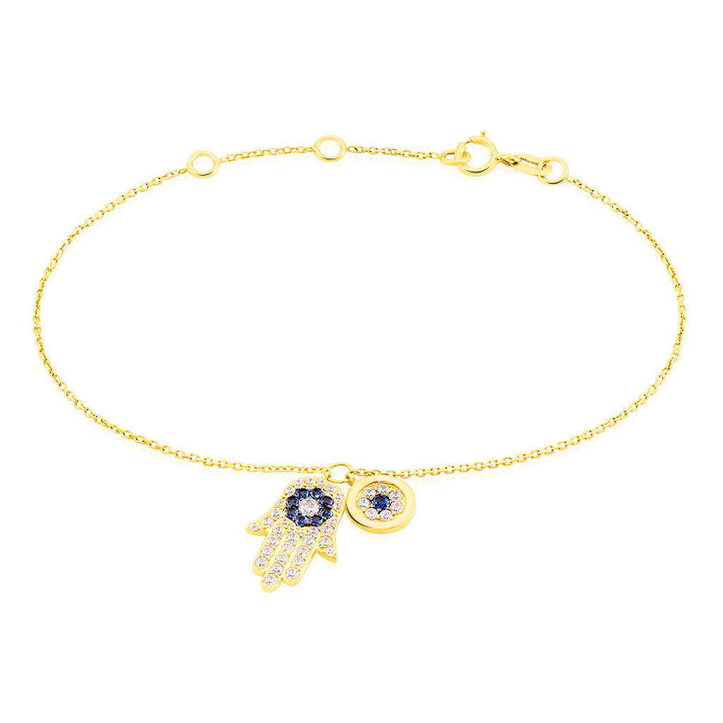 Bracelet Belkiz Or Jaune Oxyde De Zirconium - Bracelets Main de Fatma Femme | Histoire d'Or