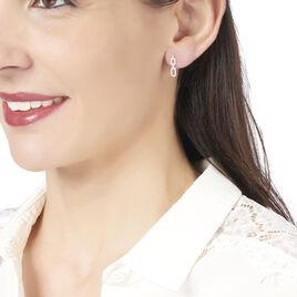 Boucles D'oreilles Pendantes Anfal Or Blanc Oxyde De Zirconium - Boucles d'oreilles pendantes Femme   Histoire d'Or