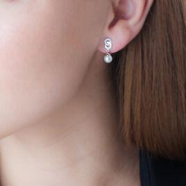 Boucles D'oreilles Pendantes Paquerette Argent Perle Culture Et Oxyde - Boucles d'oreilles fantaisie Femme   Histoire d'Or