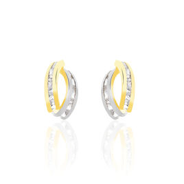 Boucles D'oreilles Puces Gersande Or Bicolore Oxyde De Zirconium - Clous d'oreilles Femme   Histoire d'Or