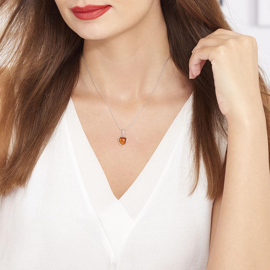 Collier Karyl Argent Blanc Ambre - Colliers Coeur Femme | Histoire d'Or