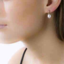 Boucles D'oreilles Pendantes Fanie Or Jaune Perle De Culture - Boucles d'oreilles pendantes Femme | Histoire d'Or
