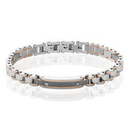 Bracelet Identite Acier Blanc Et Rose Blas - Bracelets fantaisie Homme | Histoire d'Or
