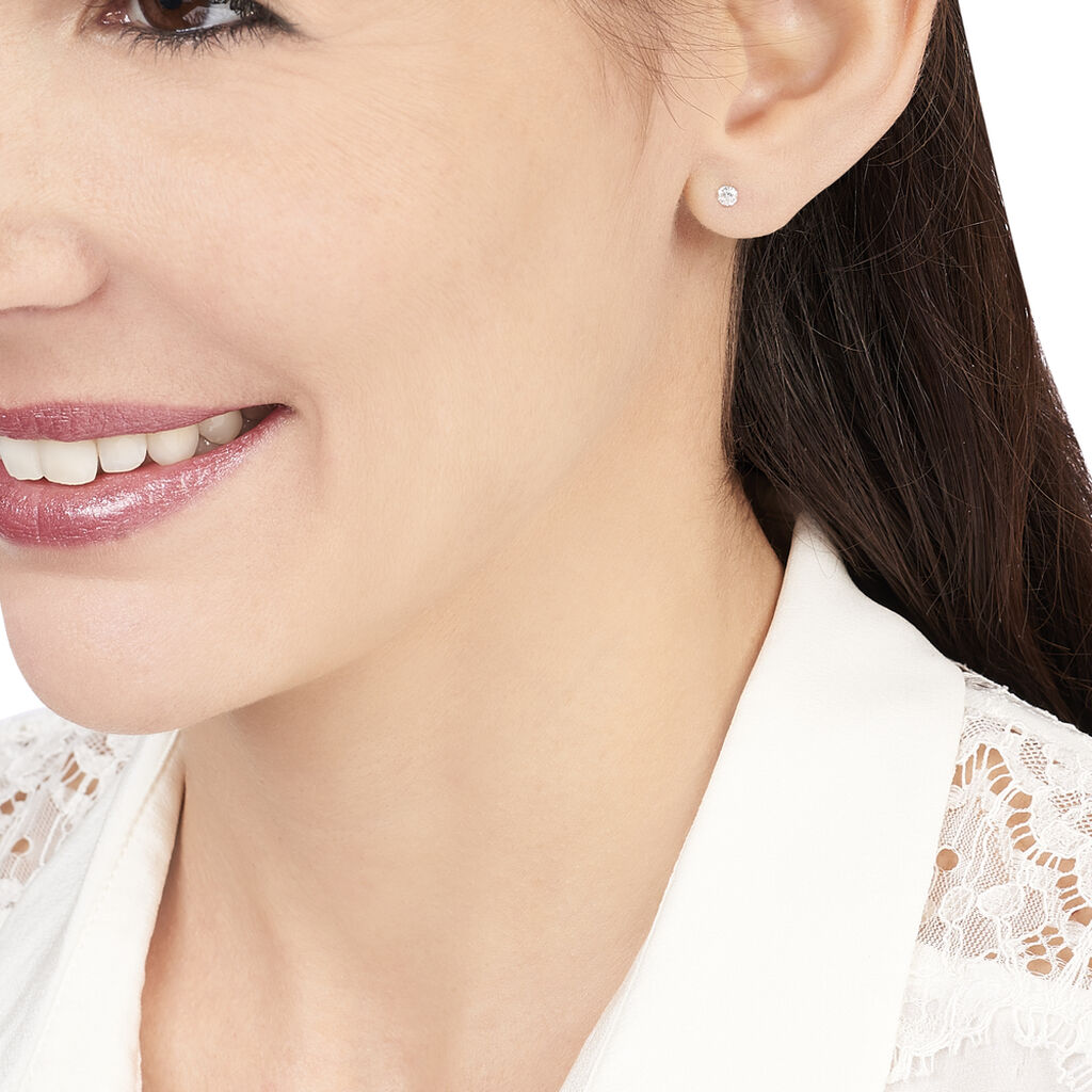 Boucles D'oreilles Puces Eddie Or Blanc Oxyde De Zirconium - Clous d'oreilles Femme   Histoire d'Or