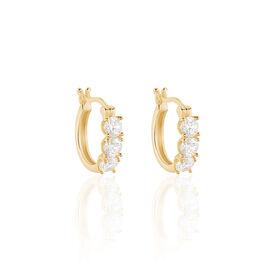 Boucles D'oreilles Pendantes Jacotte Plaque Or Oxyde De Zirconium - Boucles d'oreilles fantaisie Femme | Histoire d'Or