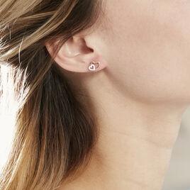 Boucles D'oreilles Puces Marineta Or Jaune Oxyde De Zirconium - Boucles d'Oreilles Coeur Femme | Histoire d'Or