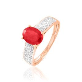 Bague Crista Or Rose Rubis Et Diamant - Bagues solitaires Femme | Histoire d'Or