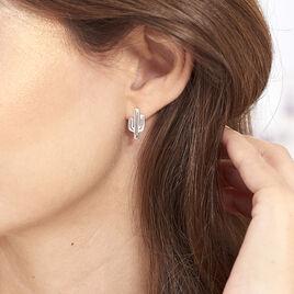Boucles D'oreilles Puces Chiquita Argent Blanc - Boucles d'oreilles fantaisie Femme | Histoire d'Or