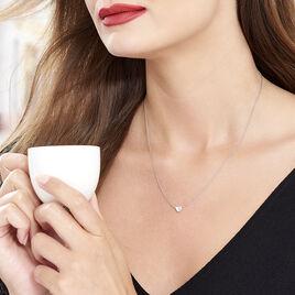 Collier Natacha Argent Blanc Oxyde De Zirconium - Colliers Coeur Femme | Histoire d'Or