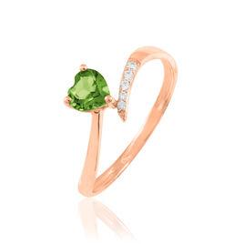 Bague Eva Or Rose Péridot Et Diamant - Bagues Coeur Femme   Histoire d'Or