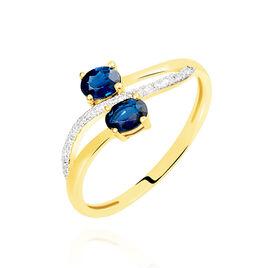 Bague Or Jaune Saphir Et Diamant - Bagues avec pierre Femme   Histoire d'Or
