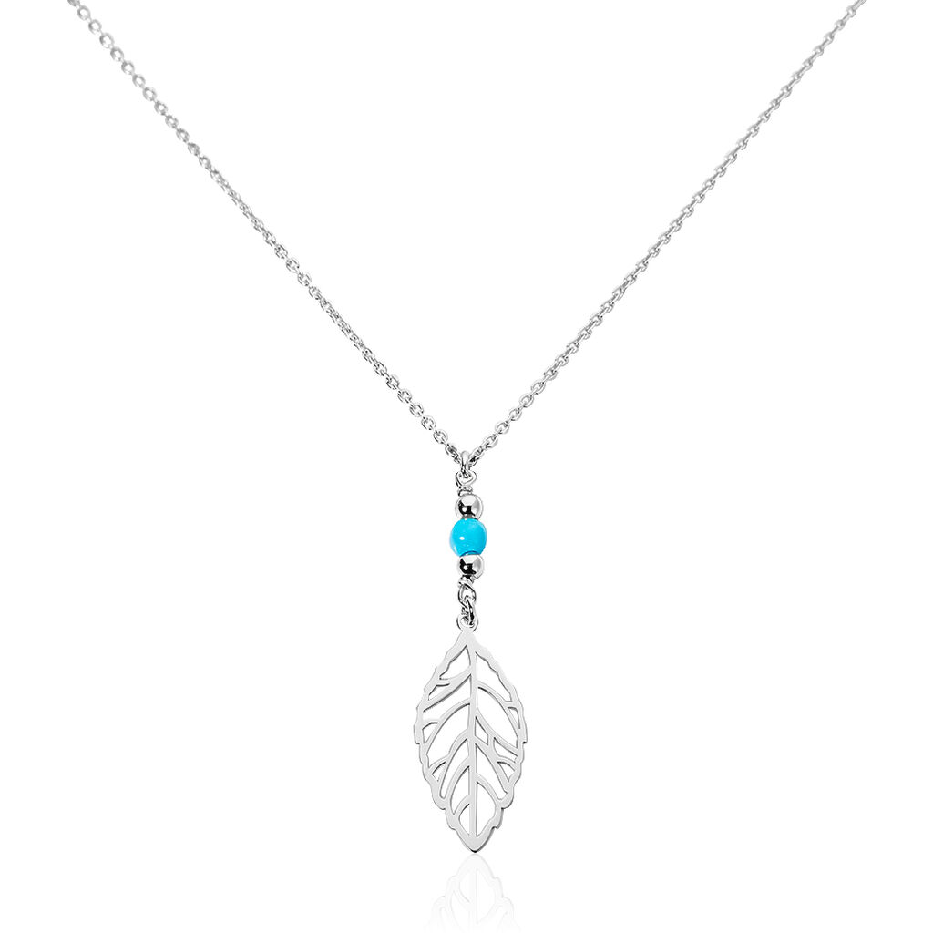 Collier Grethel Argent Blanc Turquoise - Colliers Plume Femme   Histoire d'Or