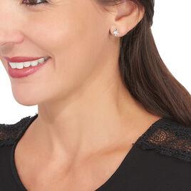 Boucles D'oreilles Puces Catena Or Bicolore Diamant - Clous d'oreilles Femme   Histoire d'Or