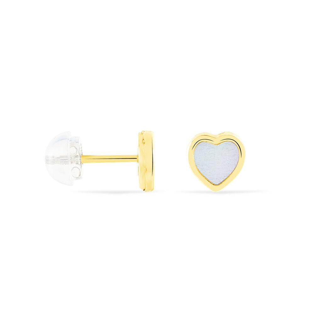 Boucles D'oreilles Puces Azalea Cœur Or Jaune Nacre - Boucles d'Oreilles Coeur Enfant | Histoire d'Or