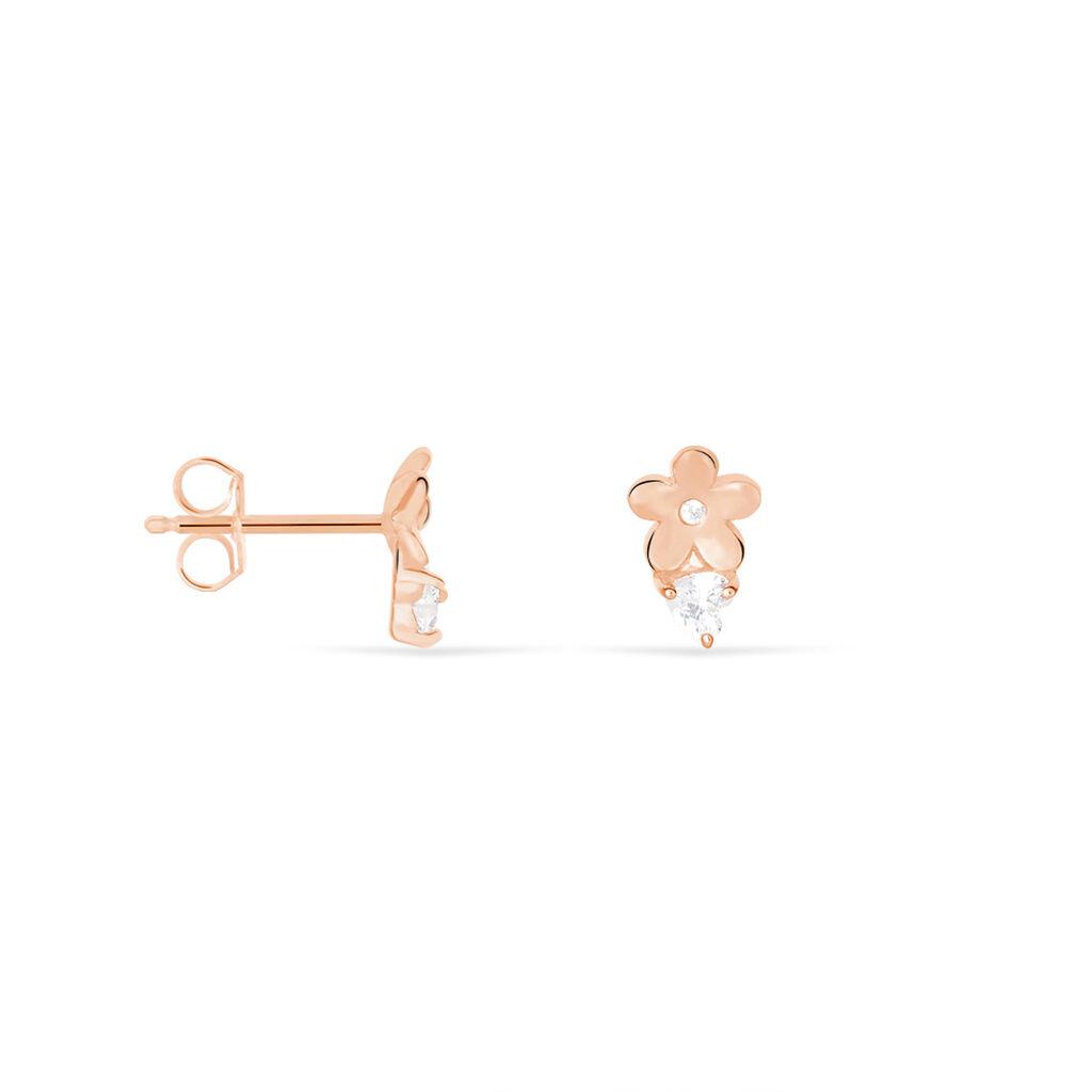 Boucles D'oreilles Puces Meggane Argent Rose Oxyde De Zirconium - Boucles d'oreilles fantaisie Femme   Histoire d'Or