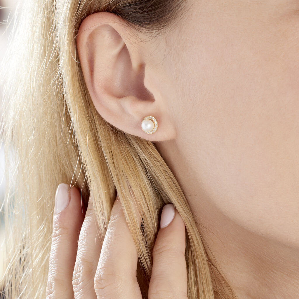 Boucles D'oreilles Puces Grizel Or Jaune Perle De Culture Et Oxyde - Clous d'oreilles Femme   Histoire d'Or
