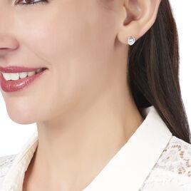 Boucles D'oreilles Puces Cherice Argent Blanc Oxyde De Zirconium - Boucles d'Oreilles Coeur Femme   Histoire d'Or